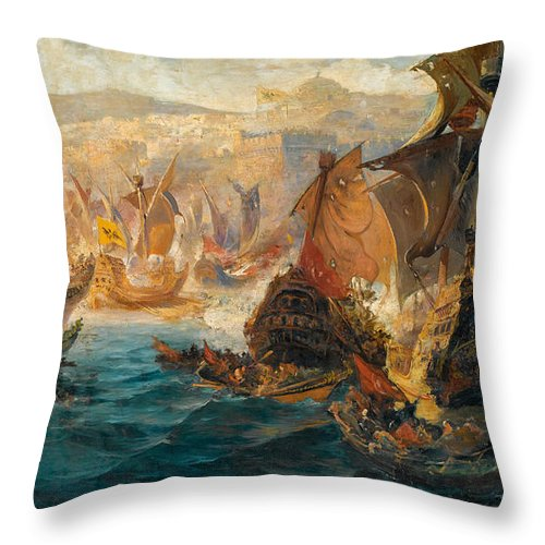 Vasilios Chatzis Throw Pillow featuring the painting The Crusader Invasion Of Constantinople by Vasilios Chatzis