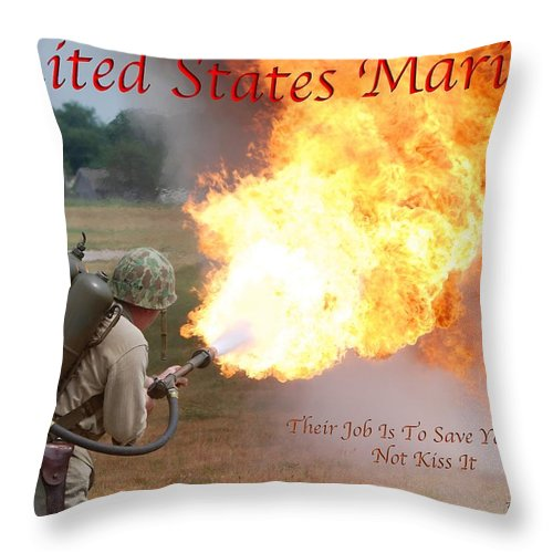 Usmc Throw Pillow featuring the photograph Their Job Is To Save Your Ass Usmc by Thomas Woolworth