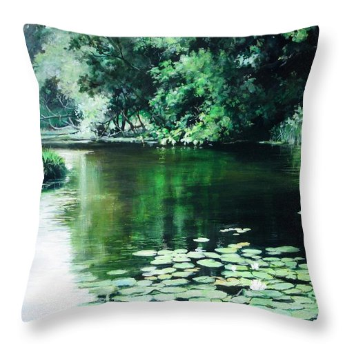 Landscape Throw Pillow featuring the painting Their Spot by William Brody
