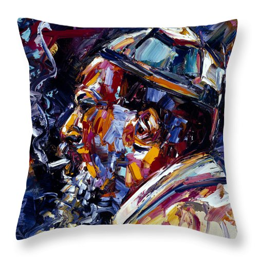 Thelonious Monk Throw Pillow featuring the painting Thelonious Monk Jazz Faces series by Debra Hurd