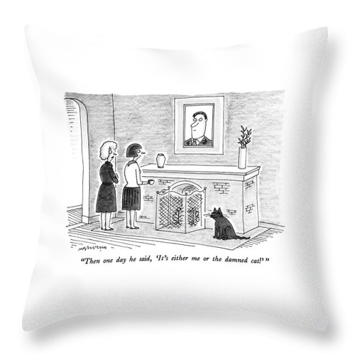 Cats Throw Pillow featuring the drawing Then One Day He Said by Mick Stevens