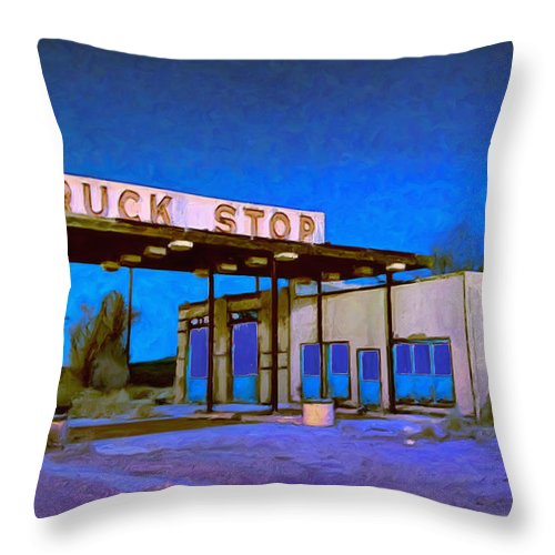 Truck Stop Throw Pillow featuring the painting Then They Built The Interstate by Dominic Piperata