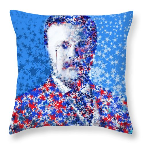 Theodore Roosevelt Throw Pillow featuring the painting Theodore Roosevelt by Bekim Art