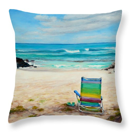 Beach Throw Pillow featuring the painting Therapy by Mary Giacomini