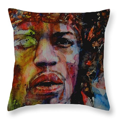 Hendrix Throw Pillow featuring the painting There Must Be Some Kind Of Way Out Of Here by Paul Lovering