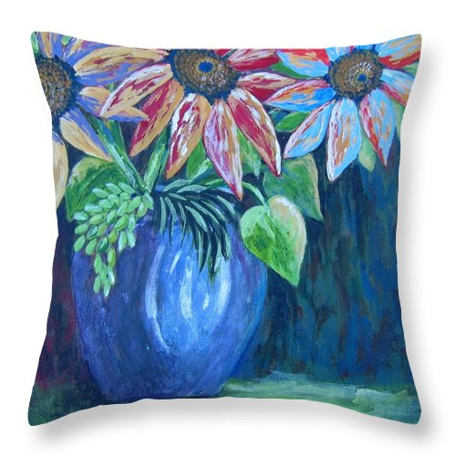 Flowers Throw Pillow featuring the painting These Are For You by Suzanne Theis