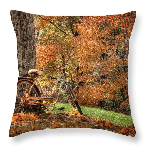 Bicycle Throw Pillow featuring the photograph These Old Bones by Lori Deiter