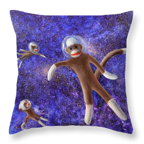 Sock Monkeys Throw Pillow featuring the painting They Came From Outer Space by Randy Burns