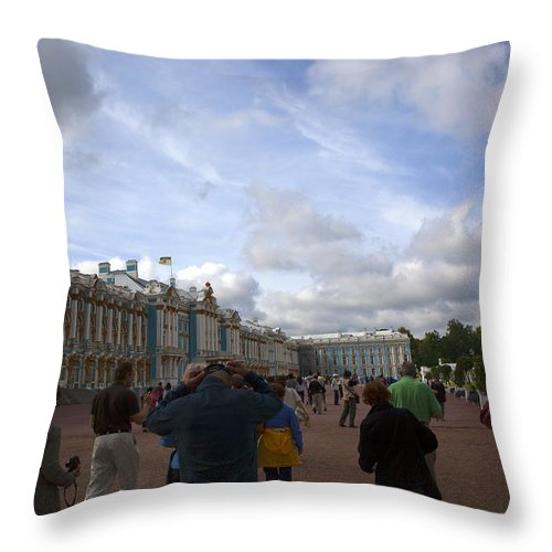 Catherine Palace Throw Pillow featuring the photograph They Come To Catherine Palace - St. Petersburg - Russia by Madeline Ellis