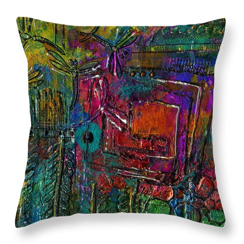 Metal Art Throw Pillow featuring the mixed media They Sing Of Freedom by Angela L Walker
