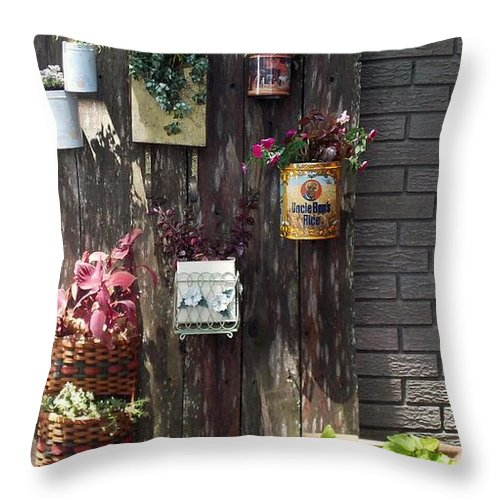 Plant Container Throw Pillow featuring the photograph Think Again by John Glass
