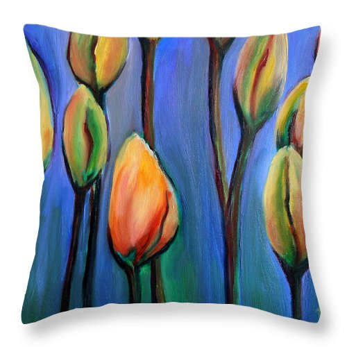Tulips Throw Pillow featuring the painting Thinking Spring by Art by Kar