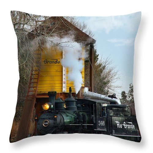 Steam Train Throw Pillow featuring the photograph Thirsty by Ken Smith