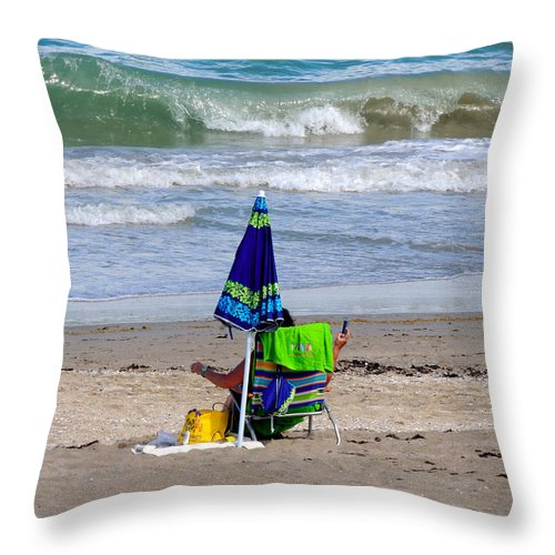 Beaches Throw Pillow featuring the photograph This Is A Recording by Marilyn Holkham