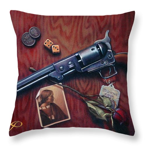 Handgun Throw Pillow featuring the painting This Is Not A Gun by Patrick Anthony Pierson