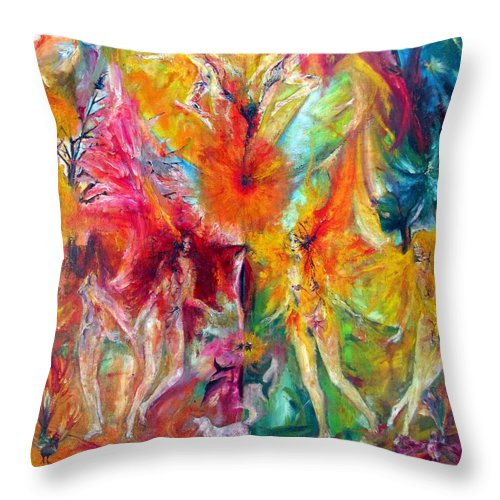 Colour Throw Pillow featuring the painting This What It I by Wojtek Kowalski