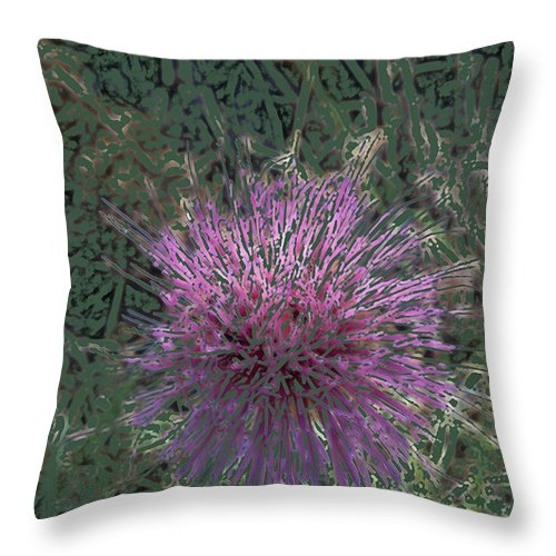 Thistle Throw Pillow featuring the digital art Thistle 2 by Lovina Wright