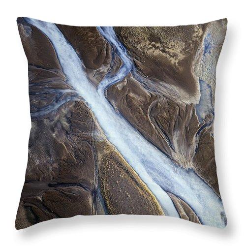 Abstract Photography Throw Pillow featuring the photograph Thjosa by Gunnar Orn Arnason