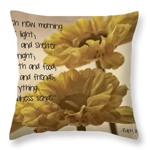 Yellow Flowers Close Throw Pillow featuring the photograph Thoughts Of Gratitude by Peggy Hughes