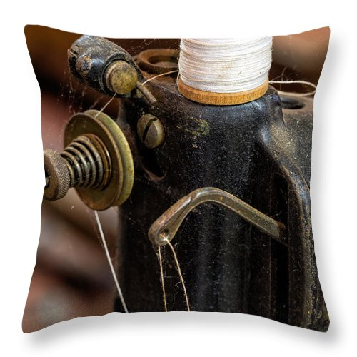 Sewing Machine Throw Pillow featuring the photograph Threaded by Denise Bush
