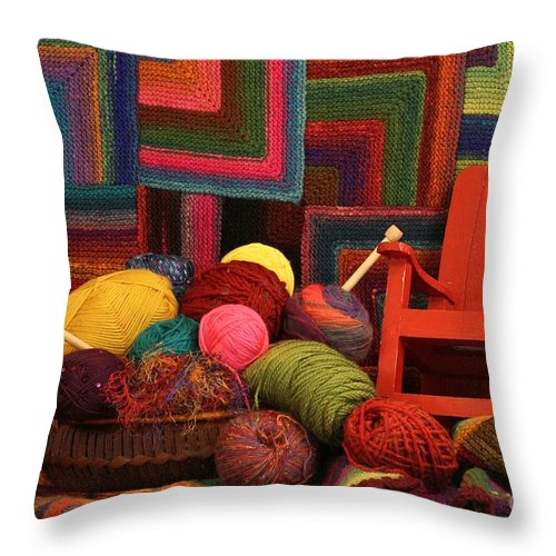 Yarn Throw Pillow featuring the photograph Threads Of The Soul Al Profits Benefit Hospice Of The Calumet Area by Joanne Markiewicz