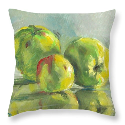 Apples Throw Pillow featuring the painting Three Apples by Synnove Pettersen