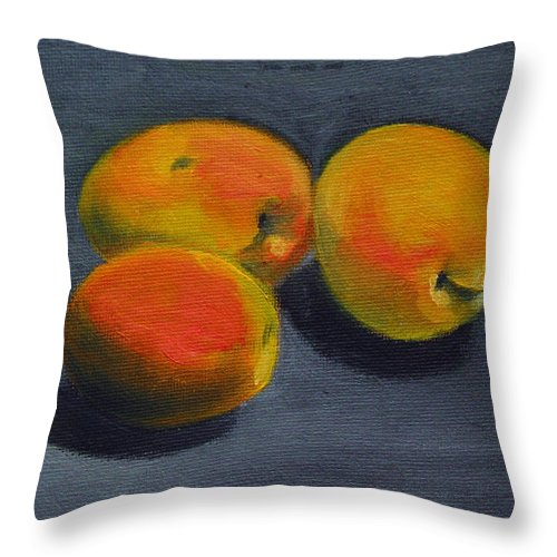 Food Throw Pillow featuring the painting Three Apricots by Sarah Lynch