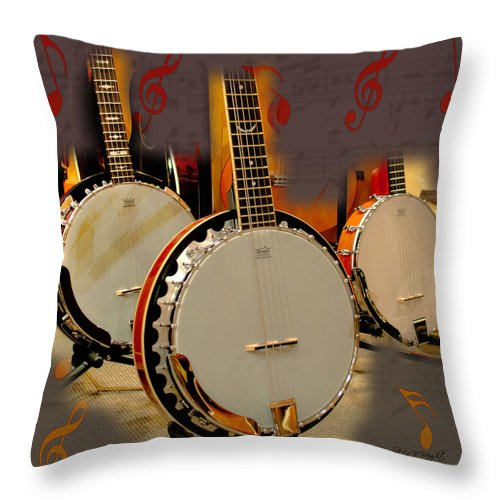 Featured Throw Pillow featuring the photograph Three Banjoes by Paulette B Wright