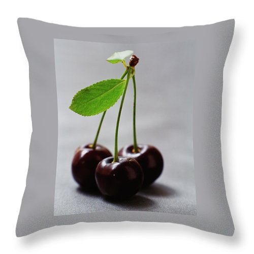 Fruits Throw Pillow featuring the photograph Three Cherries On A Stem by Romulo Yanes