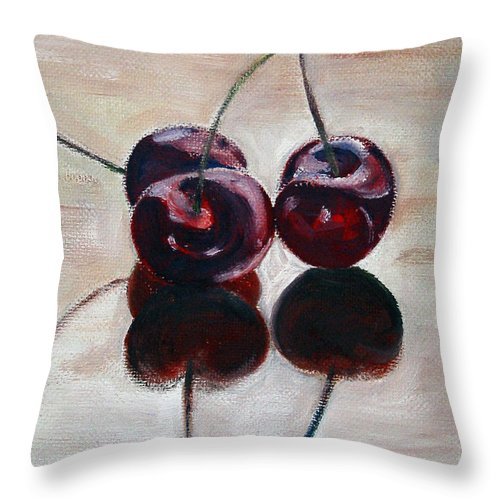 Food Throw Pillow featuring the painting Three Cherries by Sarah Lynch