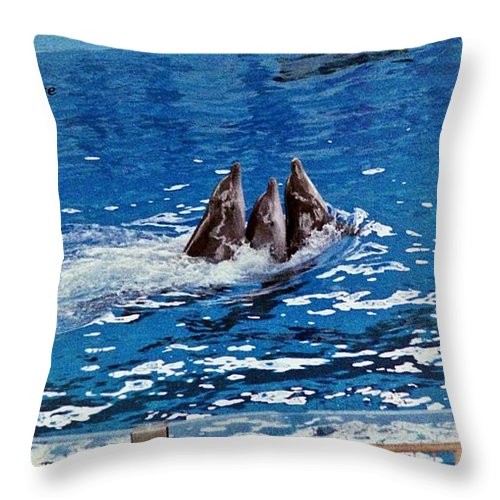 Dolphins Throw Pillow featuring the photograph Three Dolphins by Karl Rose