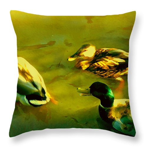 Wild Birds Throw Pillow featuring the painting Three Ducks On Golden Pond by Amy Vangsgard