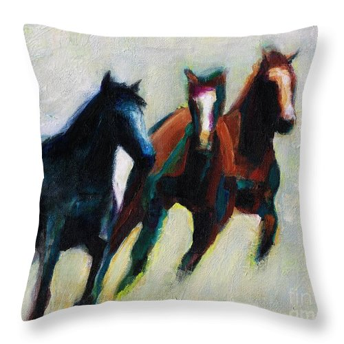 Contemporary Horse Art Throw Pillow featuring the painting Three Horses On The Diagonal by Frances Marino