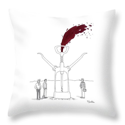 Captionless Throw Pillow featuring the drawing Three Men In Berets Drill Into The Ground by Charlie Hankin