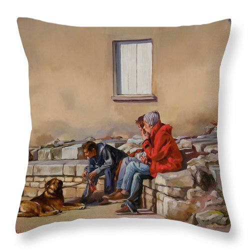 Oil Painting Throw Pillow featuring the painting Three Men With A Dog by Dominique Amendola