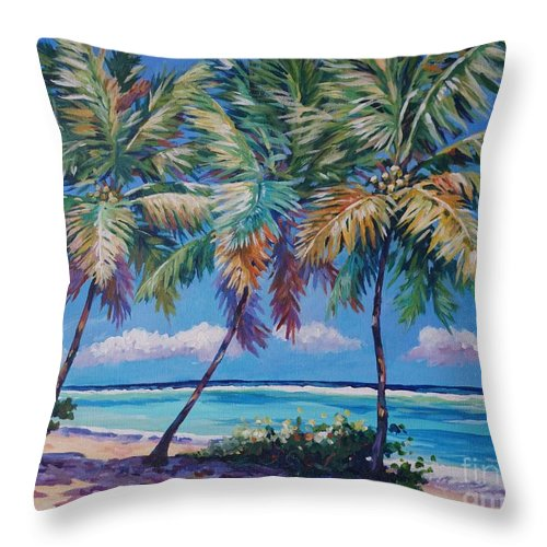 Art Throw Pillow featuring the painting Three Palms- East End by John Clark