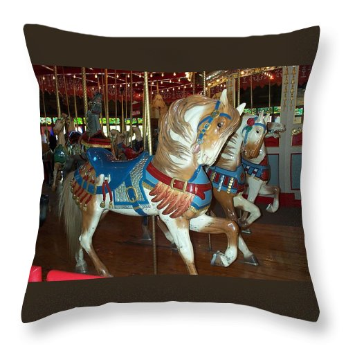 Carousel Throw Pillow featuring the photograph Three Ponies In White And Brown - Ct by Barbara McDevitt