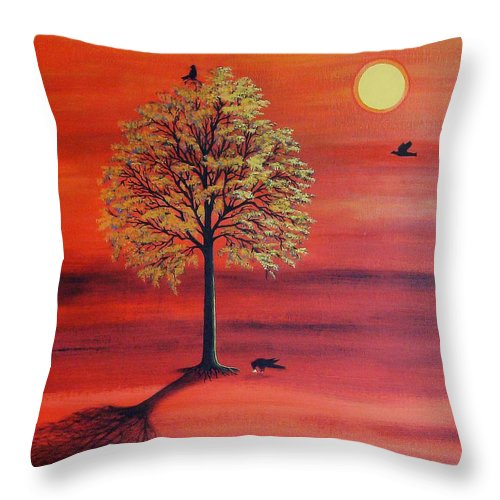 Crow Throw Pillow featuring the painting Three Ravens by Denise C Peat
