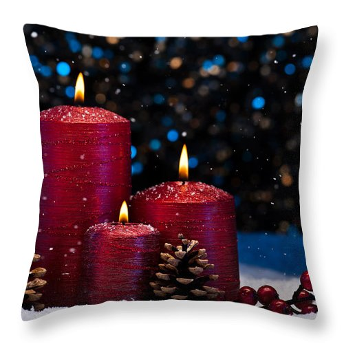 Decoration Throw Pillow featuring the photograph Three Red Candles In Snow by U Schade