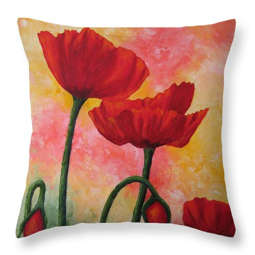 Red Poppies Throw Pillow featuring the painting Three Red Poppies by Darla Brock