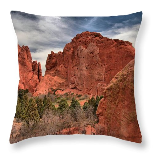 Garden Of The Gods Throw Pillow featuring the photograph Three Red Towers by Adam Jewell