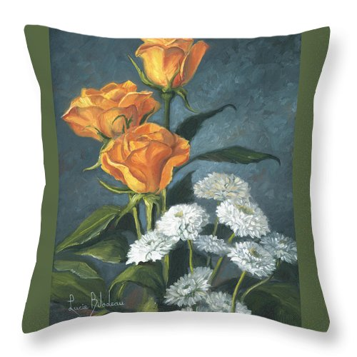 Flower Throw Pillow featuring the painting Three Roses by Lucie Bilodeau