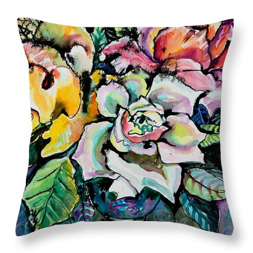 Still Life Throw Pillow featuring the painting Three Roses by Yelena Tylkina