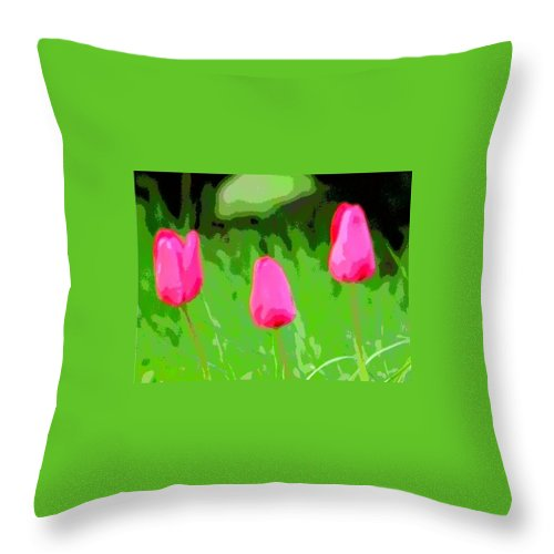 Three Tulips Throw Pillow featuring the photograph Three Tulips - Painting Like by James Scott Preston