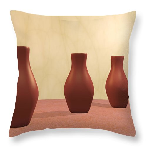 Decorative Throw Pillow featuring the digital art Three Vases by Gabiw Art