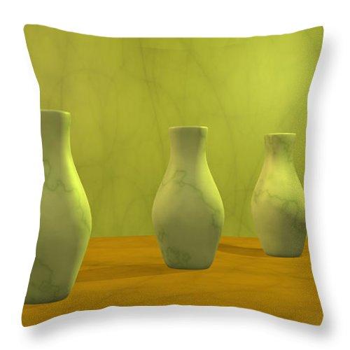 Still Life Throw Pillow featuring the digital art Three Vases II by Gabiw Art