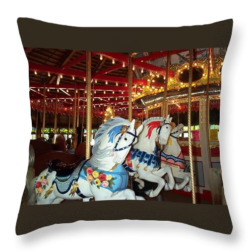 Hartford Throw Pillow featuring the photograph Three White Ponies by Barbara McDevitt