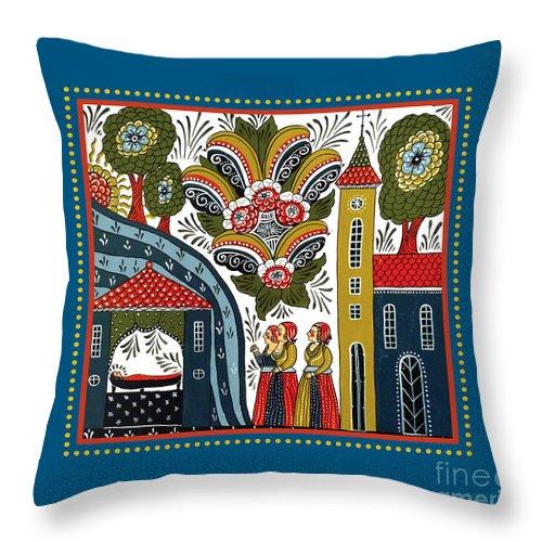 Swedish Folk Art Throw Pillow featuring the painting Three Women by Leif Sodergren