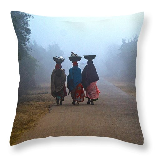 People Throw Pillow featuring the photograph Three Women by Pravine Chester