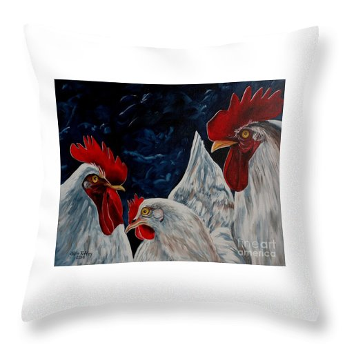 Rooster Throw Pillow featuring the painting Three's A Crowd  -  Roosters -chicken by Julie Brugh Riffey
